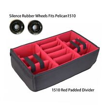 Padded Dividers Fits Pelican 1510 Case + SilenceRubber Wheels sets