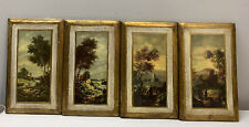 4 Vintage Rustic Italian Wall Plaques Florentine Art Gold Wood Made In Italy