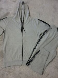 Mens New Grey XXL hooded Tracksuit  Top & Joggers Set