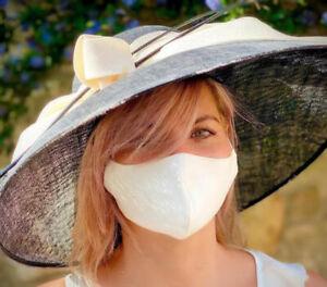 NEW PURE SILK Ivory Wedding Face Mask Washable Reusable UK Made Virus protection