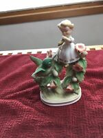 """Vintage LEFTON CHINA Girl With Hummingbird KW852 Hand Painted Japan Mint 5 7/8"""""""
