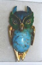 Vtg Wise Old Owl Adorable Bird Faux Torquoise Green Enamel Brooch Pin 11g 77