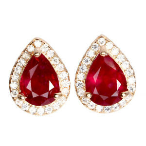 Pear Red Ruby 8x6mm Cz 14K Rose Gold Plate 925 Sterling Silver Earrings