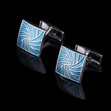 Man Blue Square Pattern Jewelry Cufflinks For Wedding Party Business Xmas Gift