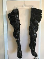 CHASE & CHLOE Black Sequin High Heel Thigh Boots Peep Toe Emilia US 8.5 VeganG96