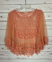 Altar'd State Women's XS Extra Small Peach Lace 3/4 Ruffle Sleeves Top Blouse