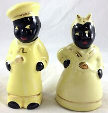 Black Americana Lady & Male Chef Servant Yellow Outfit Salt & Pepper Shaker Set