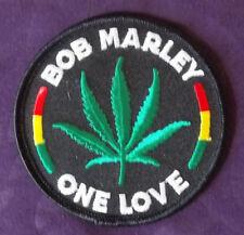 BOB MARLEY PATCH ONE LOVE MARIJUANA ROUND REGGAE SKA RASTA