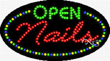"""New """"Nails Open"""" 27x15 Oval Solid/Animated Led Sign w/Custom Options 24459"""