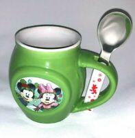 Mickey Minnie 2017 Christmas Holiday Coffee Hot Cocoa Mug and Spoon Gift Set