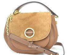 NWT AUTH MICHAEL KORS DARK CARAMEL ISADORE SUEDE CROSSBODY MSRP $398.00 #303M
