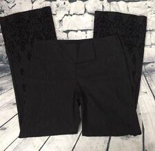 BEBE Women's Size 10 BLK & WHT Pin Stripe W/ Velvet Embossed Hems Business Pants