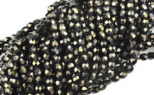 100 METALLIC GOLD / BLACK FACETED ROUND GLASS BEADS 3MM