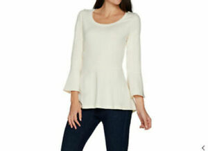 Isaac Mizrahi Knit Scoop Neck Bell Sleeve Peplum Top Cream XL A299835