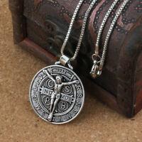 Large Jesus Crucifix Saint St Benedict Medal Cross Pendant Necklace & Box Chain