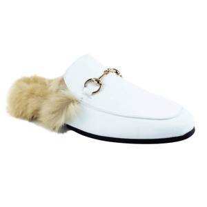White Backless Mule Slip On Leather Fur Gold Buckle Loafers Shoes Slipper AZAR