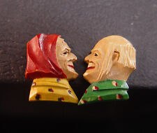 Vintage Anri Hand Carved Wood Screw On Earrings Man And Woman Heads Wooden