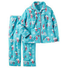 NWT Carter's Girls Winter Pajamas Size 7 Pjs Fleece Snowman Sleep Pants Blue NEW