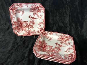 """222 Fifth Red/White CHRISTMAS LANE 8 1/2"""" Square Salad Plates - Set of 4 - NEW"""