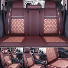 5 Seats Car Seat Cover Front+Rear Cushion 4pc Pillow PU Leather+Ice Silk Coffee