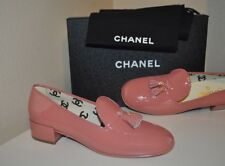 NIB CHANEL 17P Tassel Loafers Moccasins Flat Shoes PINK Patent Leather 39 - 9