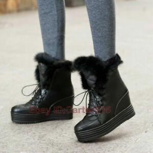 Women's Snow Fur Trim Ankle Boots Hidden Wedge Heels Platform Round Toe Shoes