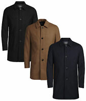 JACK & JONES Mens New Wool Blend Smart Over Coat Style Jacket Navy Black Camel