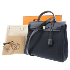 HERMES Her Bag PM Hand Bag Toile H Calf Leather Black France Authentic #NN321 Y