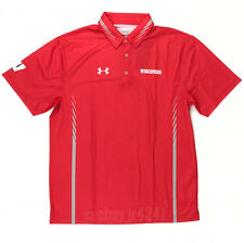 New Under Armour Wisconsin Badgers Armourfuse Polo Men's Large Red 1293921