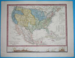 1856 ORIGINAL MAP TEXAS Houston UNITED STATES WASHINGTON NEW YORK CALIFORNIA
