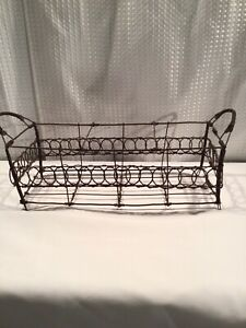 Rectangle Primitive Brown Divided Scrolled Wire Basket With Handles