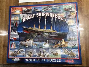 "Great Shipwrecks NEW SEALED 1000pc Jigsaw Puzzle 24""x30"" 2007 White Mountain USA"