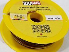 BRAWA Wire 2 x 0,25 mm² for higher digital load, 5 meters, Märklin Yellow/ Brown