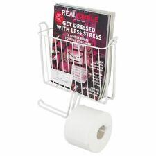 mDesign Metal Wall Mount Toilet Tissue Paper Roll Holder & Basket - White