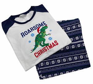 Navy Blue Xmas Festive Roarsome Childrens Dinosaur Family Christmas Pyjamas 5-6