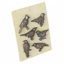 Fridge Magnet Pewter Bird Vintage Shabby Chic Antique Retro Parrot Finch