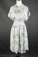 VTG 40s 50s Gray Rayon Dupioni Mushroom Print Dress #1447 1950s 1940s