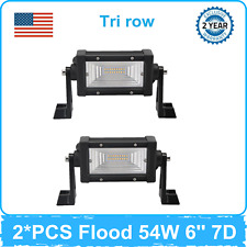 2PCS 54W Flood 6''inch LED Work Light Bar Combo Tri row 7D Lens Vehicle Ford 4WD