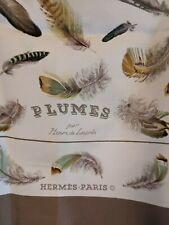 Hermes Scarf PLUMES 90cm Silk Foulard  HENRI DE LINARES