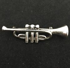 "Silver tone trumpet brooch pin figural musical insturment 2"" Jazz music"