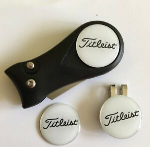 Golf Switchblade Pitchhfork Magnetic Hat Clip With 3 Titleist Markers