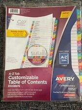 Avery A Z Tab Dividers For 3 Ring Binder Table Of Contents 11151 Customizable