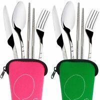 4x Portable Stainless Steel Tableware Dinnerware Travel Camping Cutlery Set