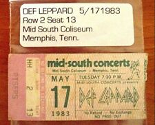 1983 Def Leppard Ticket stub 5-17-1983 Mid-South Concerts in Memphis, Tn