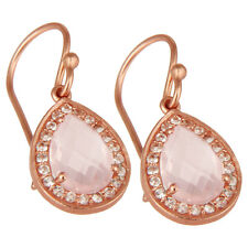 Rose Quartz Gemstone 925 Silver Dangle Earrings Wedding Party Jewelry