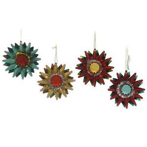 Holiday Ornaments STARBURST WITH BALL Tin St/4 Christmas Nostalgic T2374