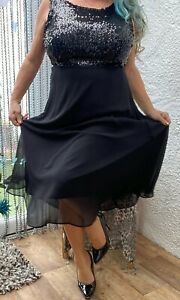 dorothy perkins black sequined  fit & flare party evening dress size 18