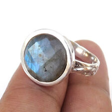 Natural Blue Fire LABRADORITE Briolette Gemstone Statement Ring Size US 8-EB1157