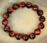 "12mm Natural Red Tiger's Eye Round Gems Beads Bracelet 7.5"" Elastic line J36"