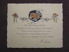 FLOWERY HAND COLORED ART NOUVEAU BIRTHDAY CARD WITH ENVELOPE